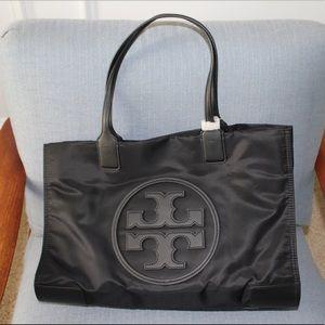 NWT Black Tory Burch Ella Tote Handbag Purse Nylon